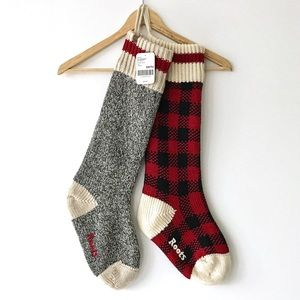 NEW Set 2 Roots Cabin Park Plaid Holiday Stockings